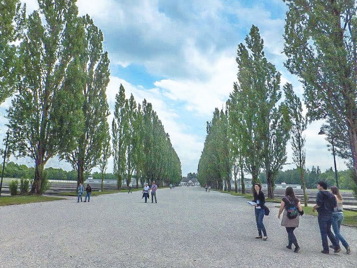 Visiting Dachau Concentration Camp memorial site | outside Munich, Germany | World War 2 | WWII | camp road trees