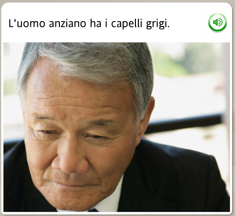 The funniest Rosetta Stone stock images: Italian, the old man has gray hair