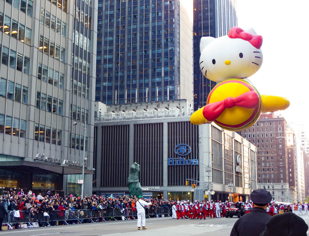 hello kitty in a plane balloon at the macys thanksgiving day parade