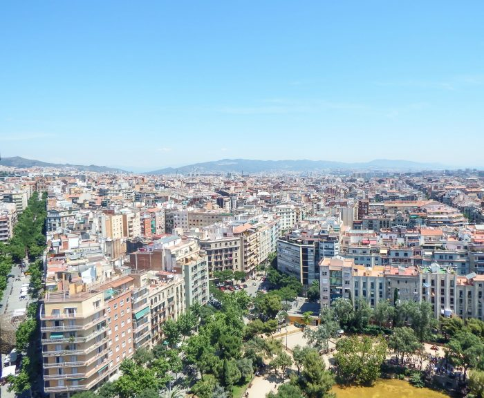 View from the tower of Gaudí's Sagrada Familia in Barcelona, Spain