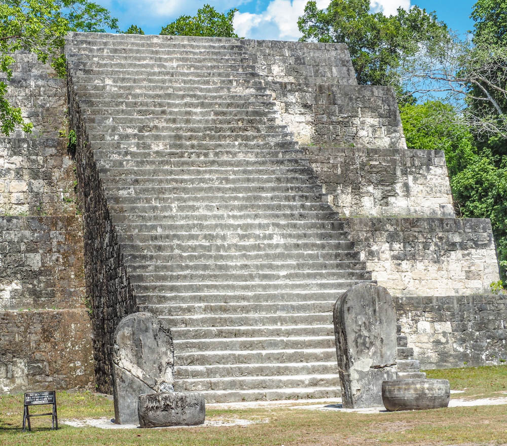 lots of steps on side of ancient pyramid on belize to tikal day trip