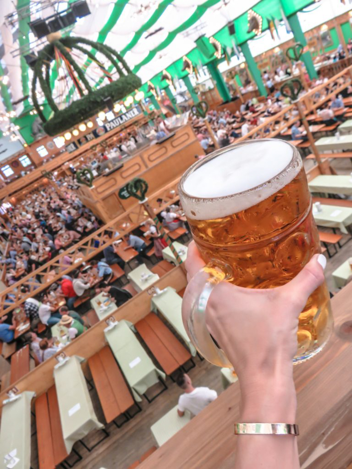 My Wanderlusty Oktoberfest Recap | What it's like at Oktoberfest in Munich, Germany | What it's like to travel to Oktoberfest with Thirsty Swagman | Oktoberfest beer tents | Oktoberfest food and beer | What to wear to Oktoberfest | Oktoberfirsts | Arbrustschutzenzelt | Paulaner Tent