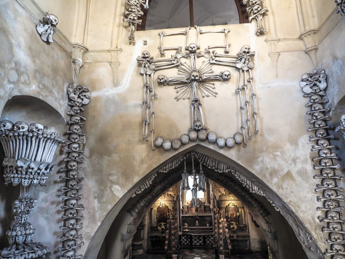 The entrance to Sedlec Ossuary, the bone church of Kutná Hora, Czech Republic