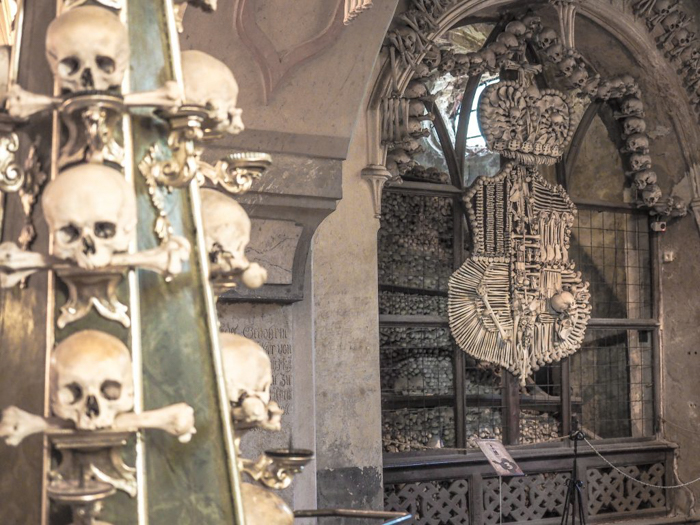 Bone decorations inside the Sedlec Ossuary in Kutná Hora, Czech Republic--just an hour outside Prague