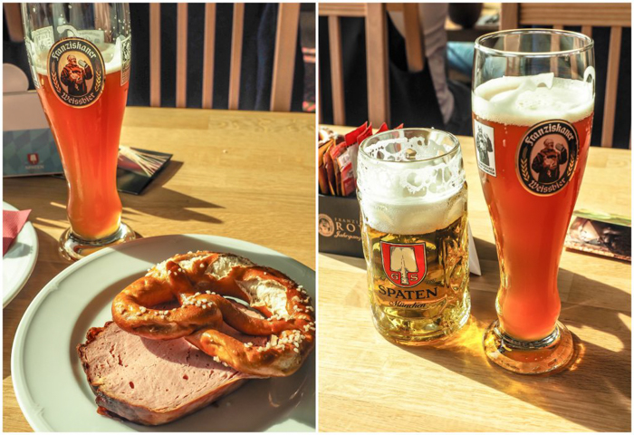 Beer and food at the Spaten Brewery in Munich, Germany