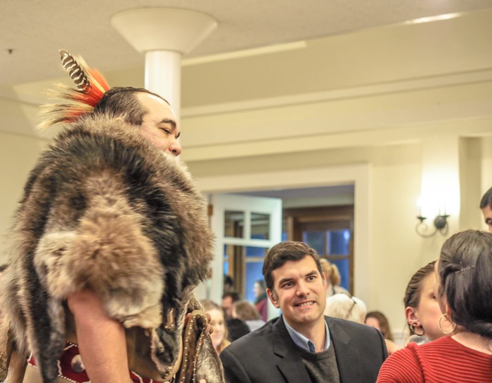 Native American at Plimoth Plantation Thanksgiving Dinner in Plymouth, Massachusetts -- just outside Boston
