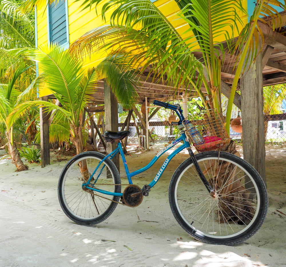 blue bike next to yellow cabana and palm trees