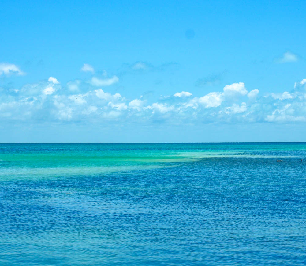 teal and blue ocean and a blue sky with small clouds