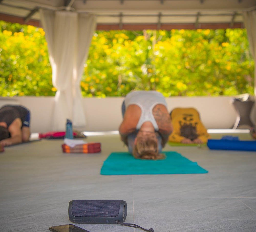 yoga class in an open air room