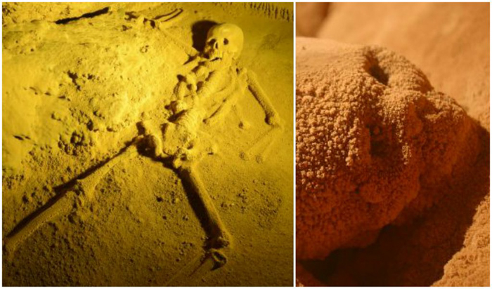Skeleton and skull inside the ATM Cave in Belize | Map | San Ignacio, Belize | Cayo District | Tapir Mountain Nature Reserve | Actun Tunichil Muknal | Maya | Mayan archaeological site | skeletal remains | Cave of the Sone Sepulcher | Pacz Tours