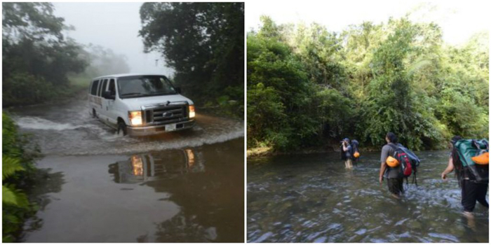 Van and river crossing on the way to the ATM Cave in Belize | Map | San Ignacio, Belize | Cayo District | Tapir Mountain Nature Reserve | Actun Tunichil Muknal | Maya | Mayan archaeological site | skeletal remains | Cave of the Sone Sepulcher | Pacz Tours