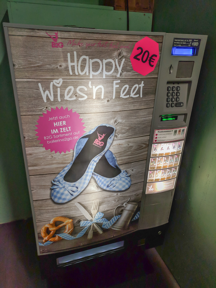 a ballet flats vending machine at oktoberfest | How to dress for Oktoberfest, a Complete and Honest Oktoberfest Packing Guide for dirndls | What to wear to Oktoberfest in Munich, Germany #oktoberfest #dirndl #munich #germany #festival #beerfestival