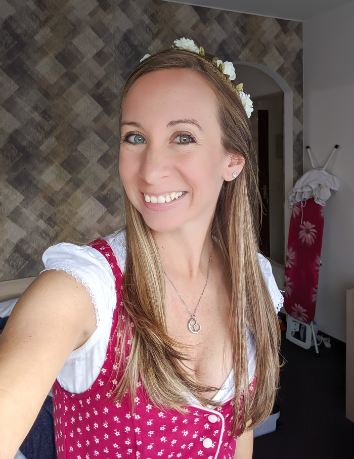 wearing a flower crown | How to dress for Oktoberfest, a Complete and Honest Oktoberfest Packing Guide for dirndls | What to wear to Oktoberfest in Munich, Germany #oktoberfest #dirndl #munich #germany #festival #beerfestival