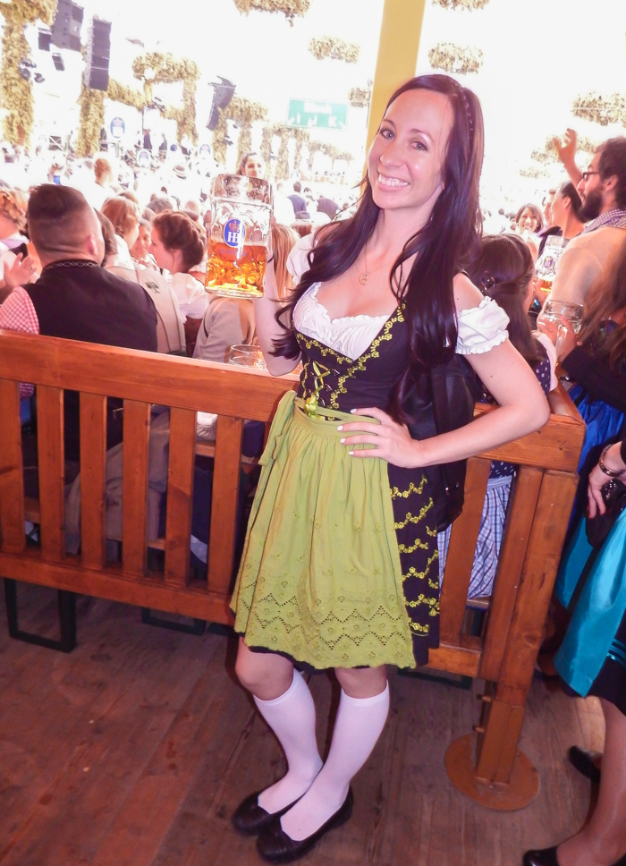 green and black dirndl | How to dress for Oktoberfest, a Complete and Honest Oktoberfest Packing Guide for dirndls | What to wear to Oktoberfest in Munich, Germany #oktoberfest #dirndl #munich #germany #festival #beerfestival