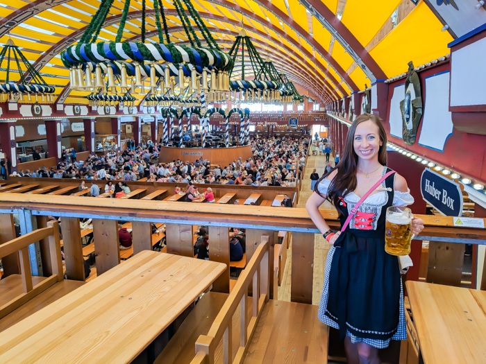 First to arrive in the Lowenbraufestzelt | How to dress for Oktoberfest, a Complete and Honest Oktoberfest Packing Guide for dirndls | What to wear to Oktoberfest in Munich, Germany #oktoberfest #dirndl #munich #germany #festival #beerfestival