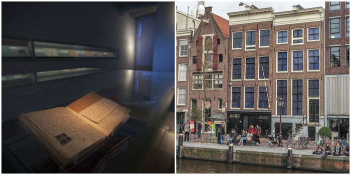 Building exterior and Anne Frank's diary at the Anne Frank House in Amsterdam | 3 days in Amsterdam, Netherland | Dutch History | WW2 | Diary of Anne Frank