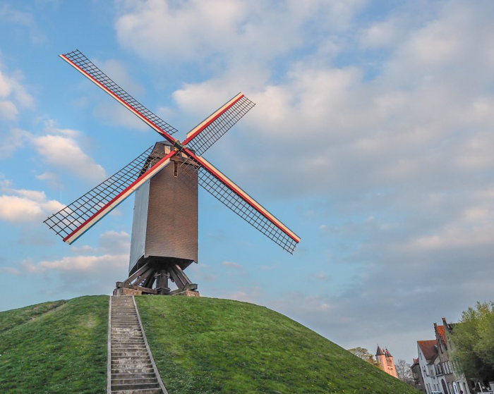 belgium travel guide | Windmills around the corner from St. Christopher's Inn Bruges, Belgium | Hostel at the Bauhaus