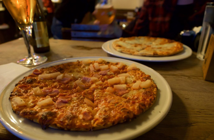 Pizza at St. Christopher's Inn Bruges, Belgium | Hostel at the Bauhaus | Brugge