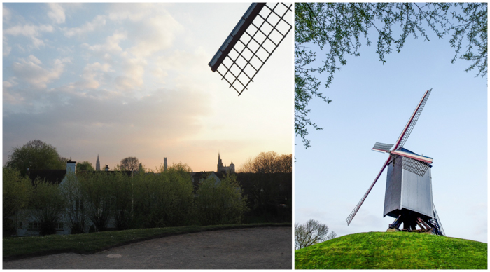 Windmills and sunset around the corner from St. Christopher's Inn Bruges, Belgium | Hostel at the Bauhaus