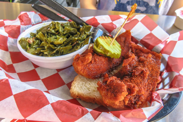 How hot is mild? An exploration of Nashville Hot Chicken | Hattie B's | Nashville, Tennessee | chicken and waffles, chicken tenders, spicy fried chicken | Southern cuisine | Soul food | hot plate