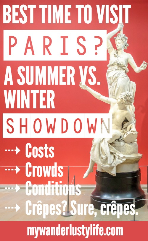 When is the best time to visit Paris, France? Here is a summer vs. winter showdown. Hotel and airfare costs and room availability | Crowds and lines at popular museums, monuments, and attractions | Weather conditions | the Louvre, Eiffel Tower, Arc de Triomphe, Giverny, Versailles, and more.