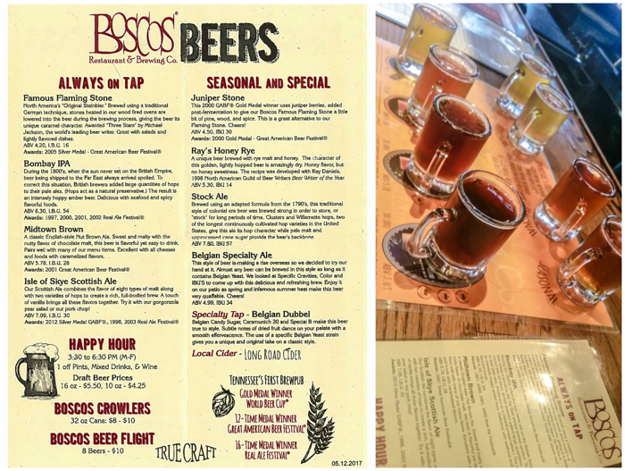 Memphis craft breweries | Bosco's Restaurant and Brewing Co. | Craft beer in Overton Square, Midtown Memphis, Tennessee | Beer list