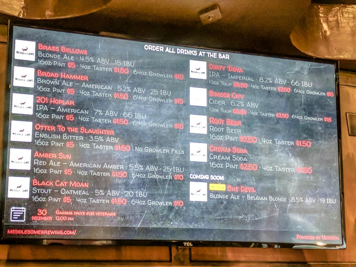 Guide to Memphis craft breweries | Meddlesome Brewing Company, Cordova, Tennessee | Beer menu