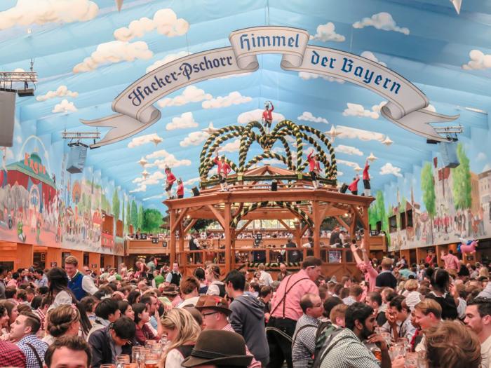 the Hacker Pschorr tent at Oktoberfest in Munich, Germany