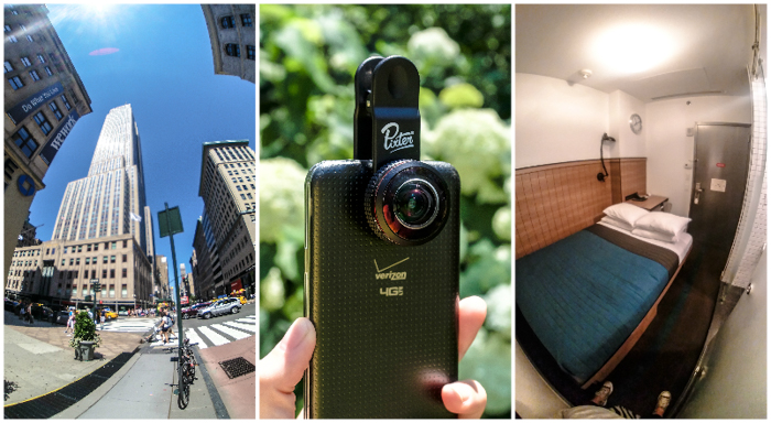 Best travel photography gear for time-budget travelers | Clip on smartphone lenses by Pixter | Super Fisheye lens | Cell phone camera lenses iPhone and Android | Empire State Building | Pod Hotel