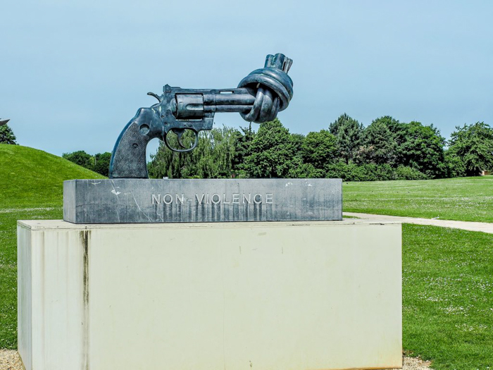 The best D-Day sites to visit in Normandy, France | WWII | WW2 | Caen Memorial and Museum | Non-Violence sculpture by artist Carl Fredrik Reuterswärd