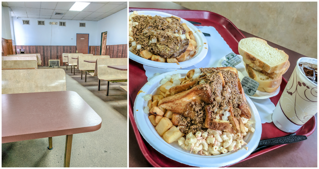 Nick Tahou Garbage Plate | Rochester, New York | Hamburger, Cheeseburger, Grilled Cheese, sausage | strange regional food obsessions | college food | tables and tray