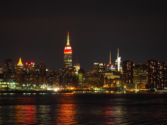 nighttime new york city skyline from the water