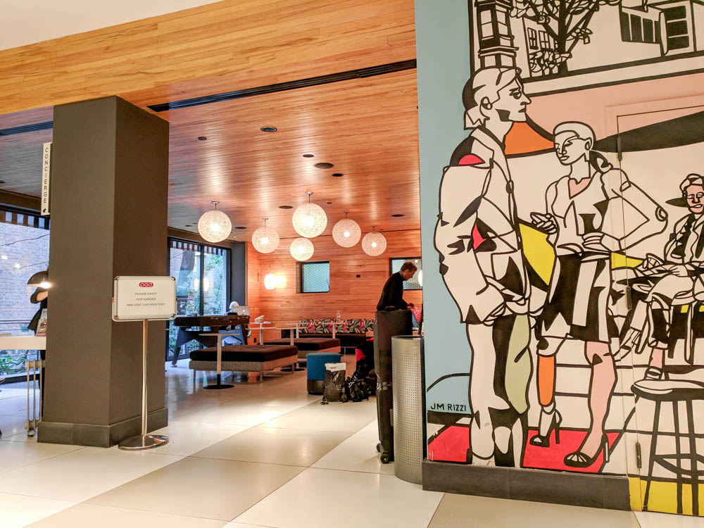 bright and colorful hotel lobby with art