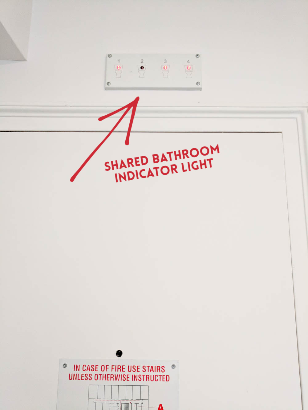 Shared bathroom indicator light | Pod Hotel Review: The Truth About Pod 51 and Pod 39 in New York City | What it's like to stay at a New York Pod Hotel