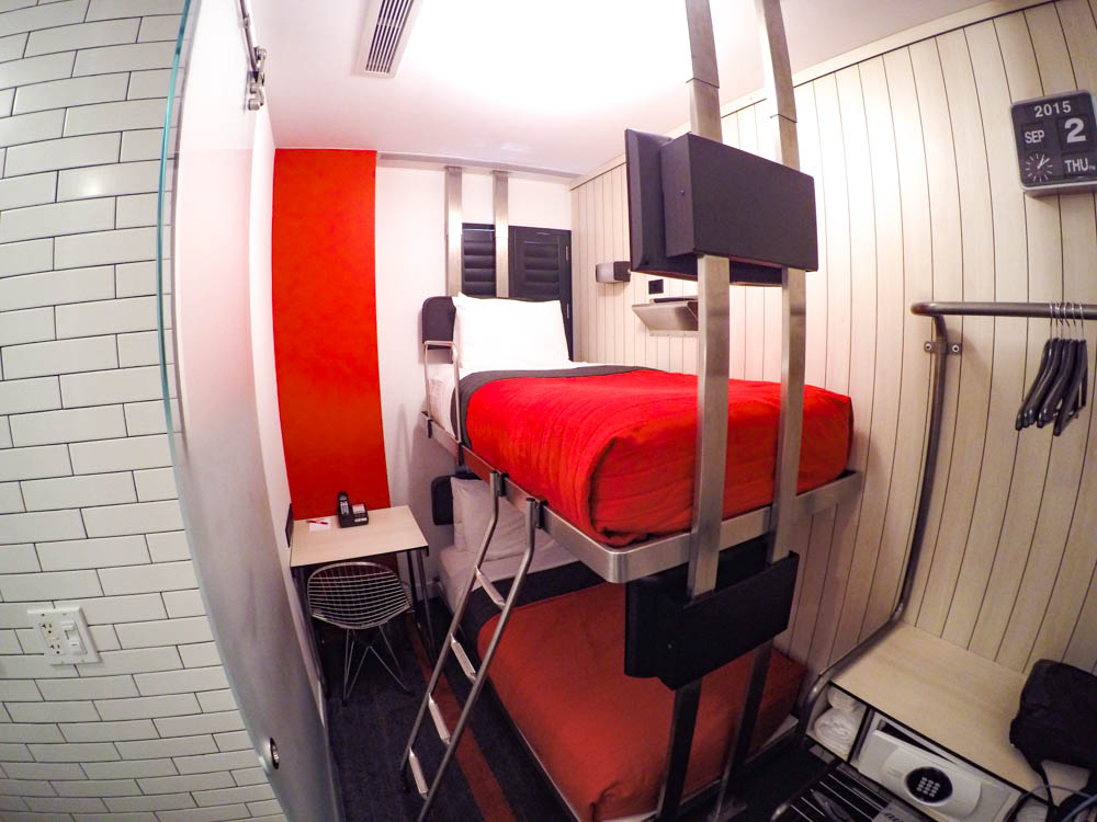 tiny room with bunk beds