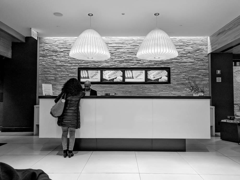 pod hotel review, pod 51 reception deck