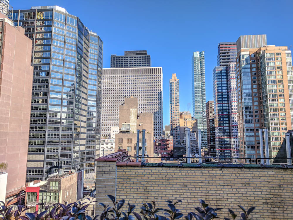 View of manhattan buildings from rooftop