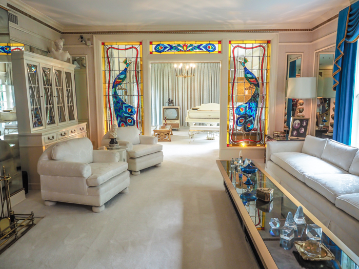 Living room, Music room | 13 Reasons to Visit Graceland in Memphis, Tennessee even if you're not an Elvis Presley fan #Elvis #Graceland #Memphis #traveltips