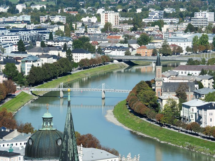 How to Squeeze in a Day Trip to Salzburg from Munich | Austria to Germany | Sound of music, mozart, castle, brewery, museums #salzburg #austria #thesoundofmusic #beer #mozart #daytrip #castle | River view