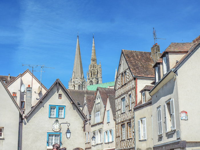 The rooftops and and view of Chartres Cathedral in Chartres, France - Loire Valley