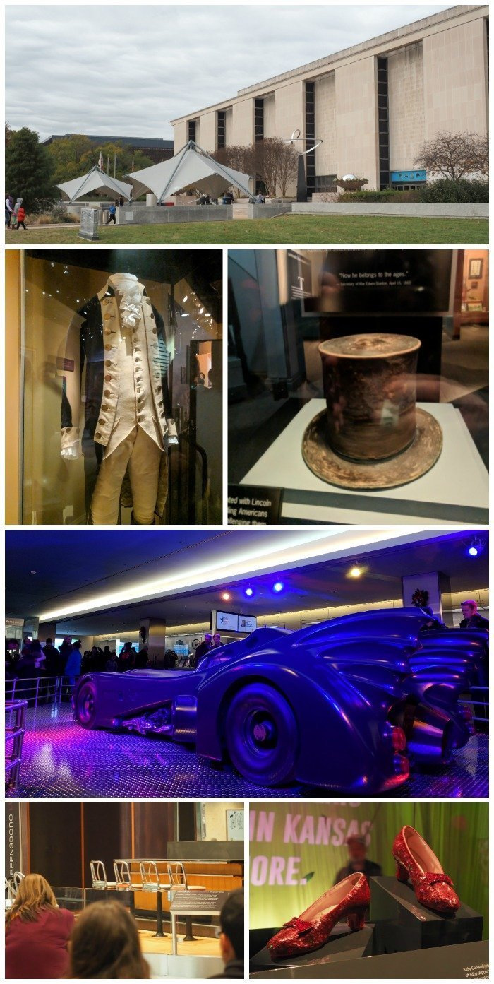Smithsonian National Museum of American History| Star Spangled Banner, Dorothy's ruby slippers, George Washington's uniform, Abraham Lincoln's top hat, the Batmobile, Greensboro lunch counter | A Jam-Packed 3 Days in Washington DC Itinerary for First Time Visitors | #washingtondc #timebudgettravel #USA