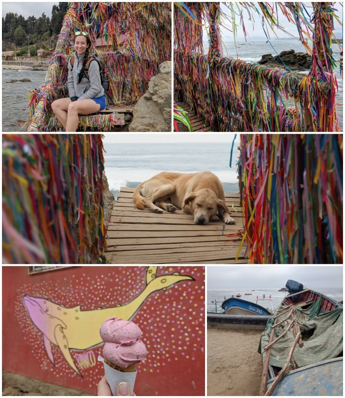 How to Spend One Week in Chile and Cover All the Bases   Visiting the Puente de los Deseos (Bridge of Wishes) in the oceanside town of Horcón #chile #valparaiso #horcon #whattodoinchile #weekinchile #icecream #cachagua #beach #puentedelosdeseos