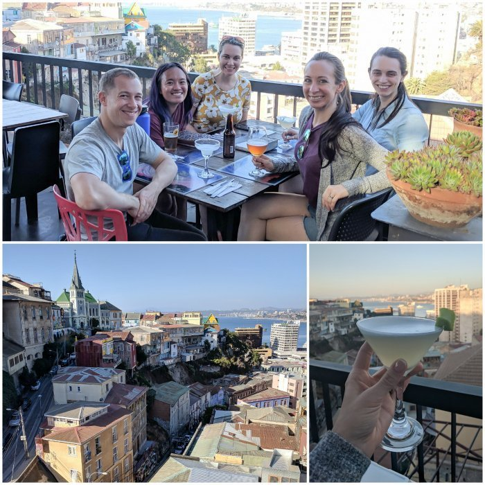 How to Spend One Week in Chile and Cover All the Bases | Dinner and pisco sours in Valparaiso at restaurant Hotel Fauna #chile #valpo #aerialviews #valparaiso #whattodoinchile #weekinchile #piscosour