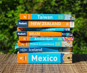 packing and travel gear, travel guidebookes: Fodor's, Rough Guides, Lonely Planet, Culture Smart
