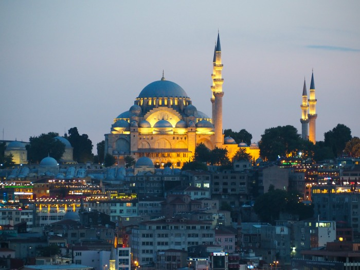 view of new mosque, istanbul turkey