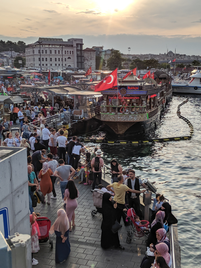 Busy night on the Bosphorus, Where to Stay in Istanbul, Turkey: Hotel Momento Golden Horn in Beyoglu / Karakoy. #istanbul #turkey #goldenhorn #wheretostay #hotelreview #hotelmomento #traveltips