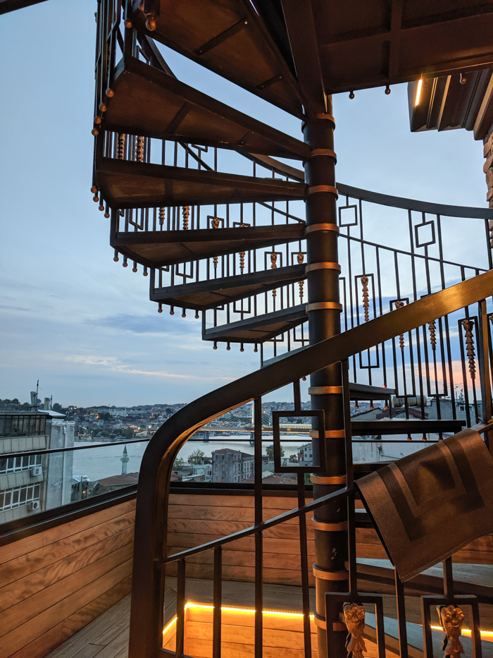 Staircase at the rooftop bar, Where to Stay in Istanbul, Turkey: Hotel Momento Golden Horn in Beyoglu / Karakoy. #istanbul #turkey #goldenhorn #wheretostay #hotelreview #hotelmomento #traveltips