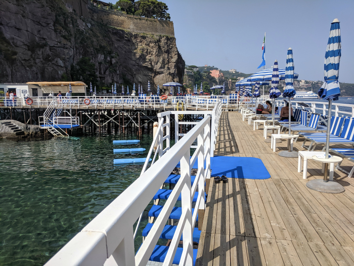 5 days in Sorrento, Italy + the Amalfi Coast   Where to stay in Sorrento, Grand Hotel Riviera swimming dock #sorrento #italy #naples #grandhotelriviera
