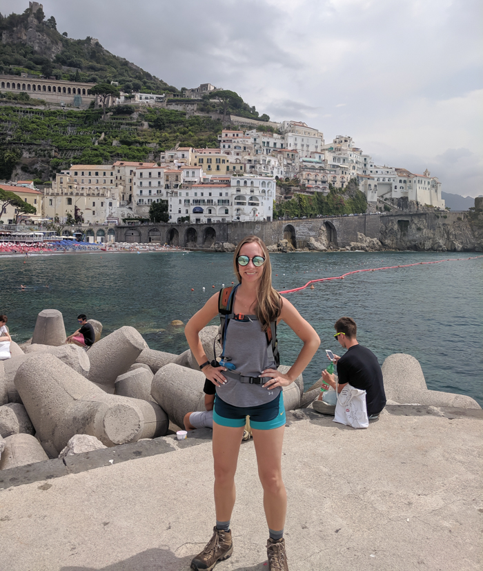 Me in front of the town of Amalfi | Hiking the Path of the Gods from Sorrento, Italy on the Amalfi Coast | #pathofthegods #sorrento #amalficoast #hiking #italy