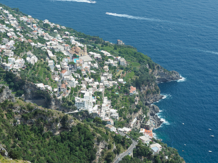 View of Praiano along the Amalfi Coast | Hiking the Path of the Gods from Sorrento, Italy on the Amalfi Coast | #pathofthegods #sorrento #amalficoast #hiking #italy